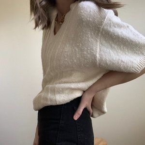 Vintage Tops - Textured Ivory Boxy Knit Tee Pullover